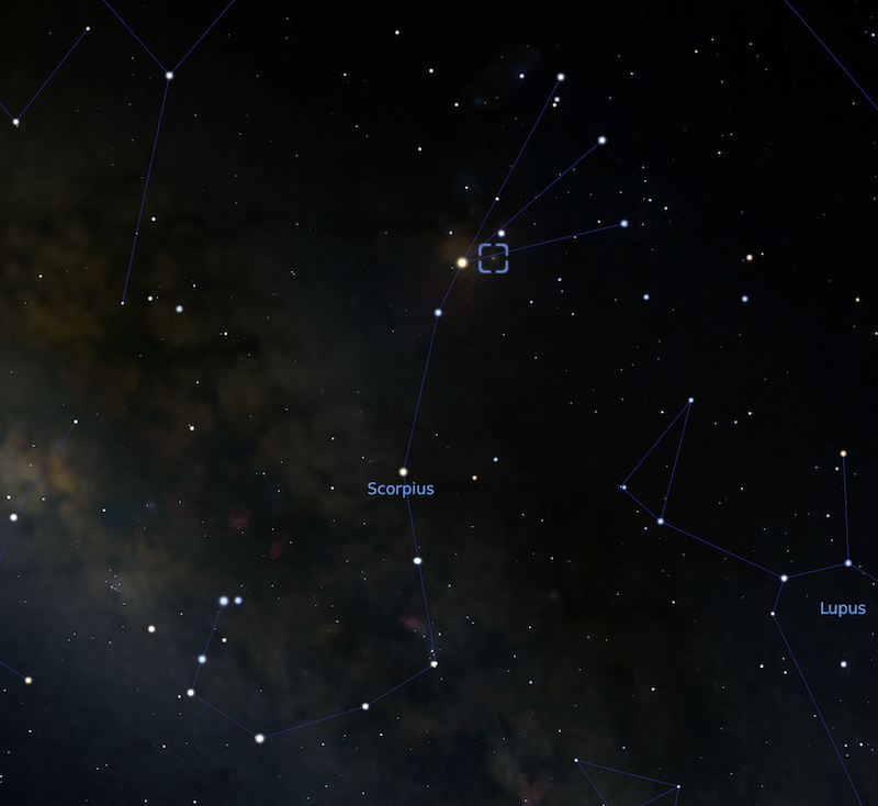 Find M4: A star map showing the constellation Scorpius with M4 marked with a blue square.