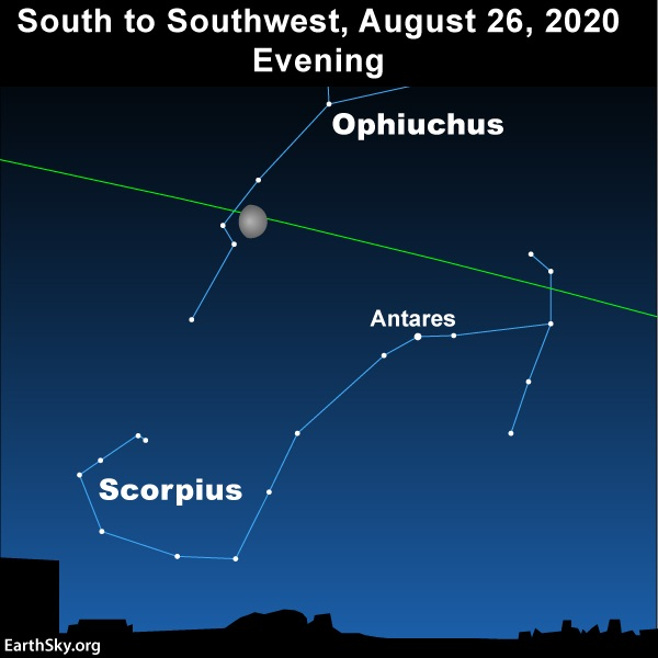 The moon swings above the constellation Scorpius and theourhg the constellation Ophiuchus on August 26, 2020.