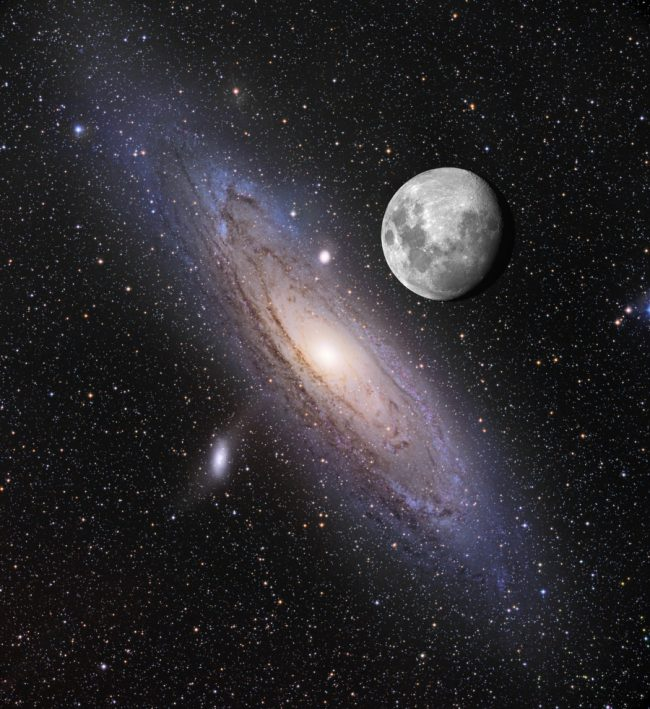 Large Andromeda galaxy with gibbous mooon in foreground.