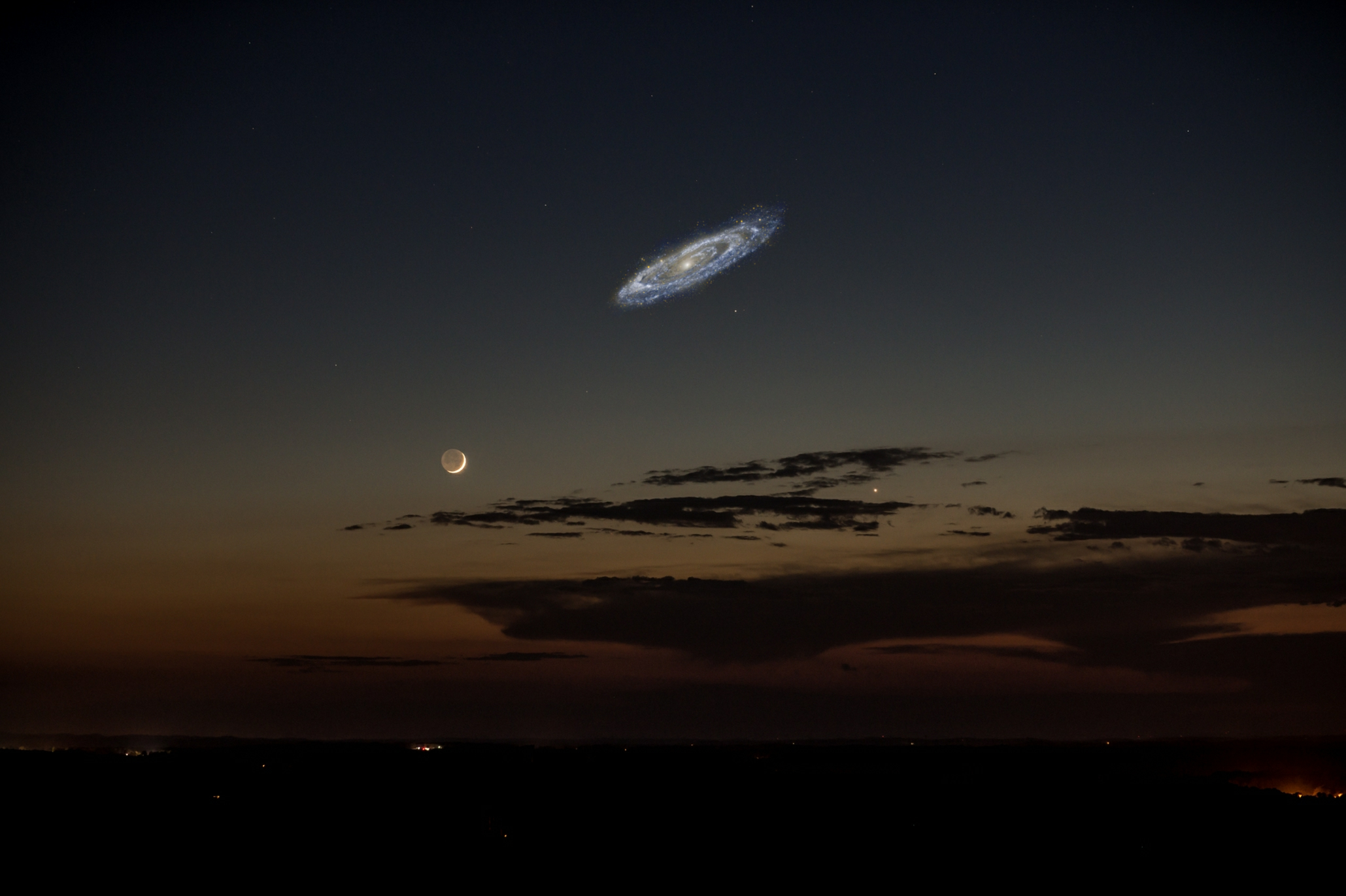 Composite image showing a very bright Andromeda galaxy, next to a crescent moon.