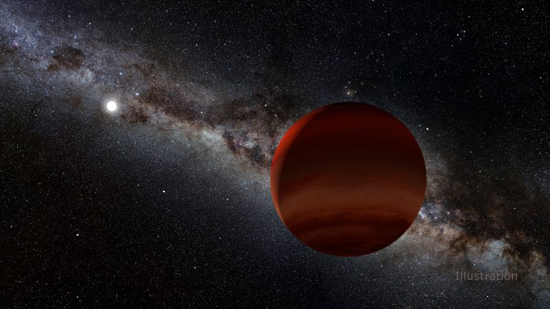 Large dark reddish spherical world with bright white star and galaxy in distance.