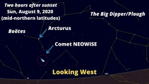 Chart showing location of Comet NEOWISE on August 9, 2020.