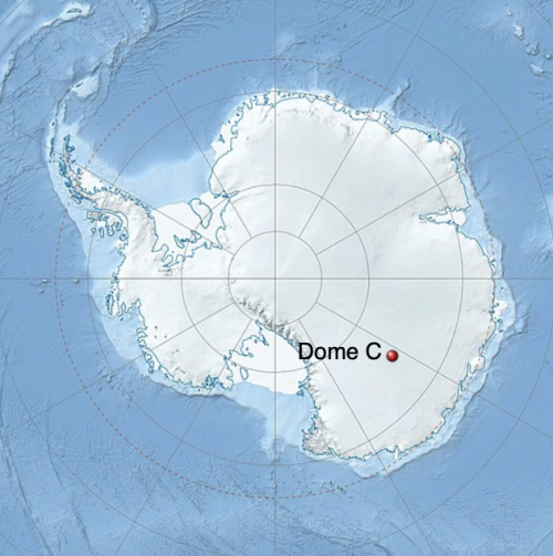 A map of Antarctica, with Dome C's location marked by a red dot.