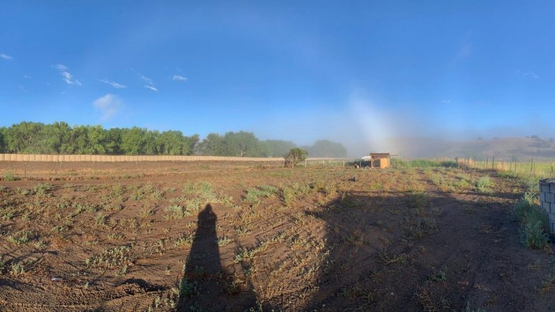Fogbow over a desert landscape. The photographers shadow is also in the photo.