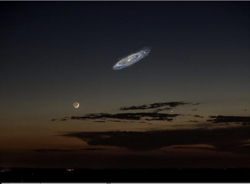 Composite image showing a very bright glowing oblique spiral several times larger than the crescent moon.