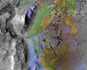 Colored terrain with riverbed and delta, seen from above.