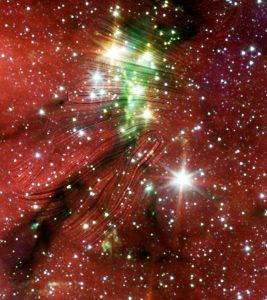 Streaking lines across an image of a star field.