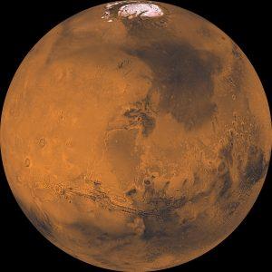 Full-globe, very detailed view of Mars from orbit.