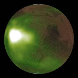A shiny green ball on a black background.