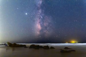 Edgewise view of the summer Milky Way, on a dark night.