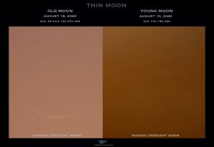Two-paneled image, with the very old moon on the left and very young moon on the right.