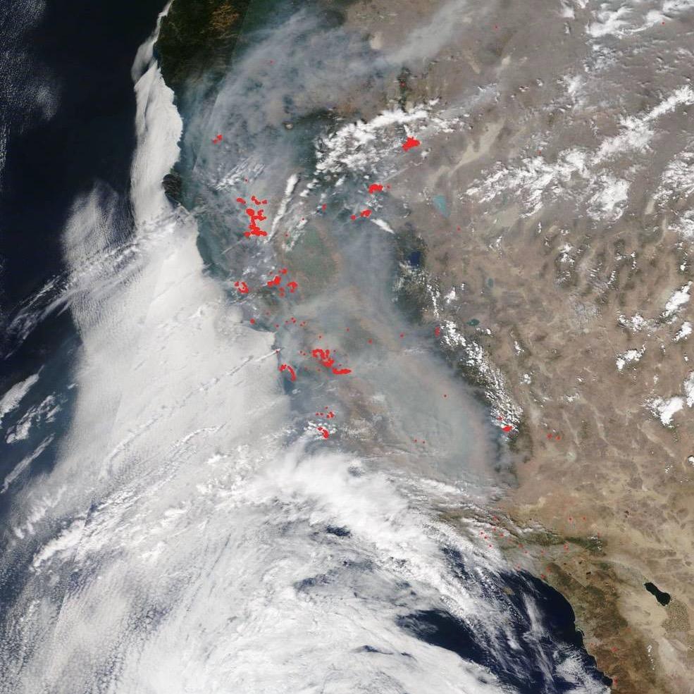 Image via satellite of smoke along the entire U.S. West coast.