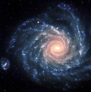 Bluish spiral-shaped galaxy.