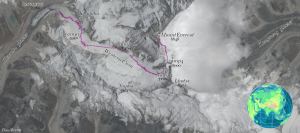 Orbital view of Mt. Everest area with trail in purple and locations labeled.