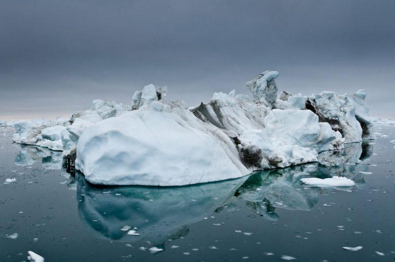 Large chunks of floating ice melting into the sea.