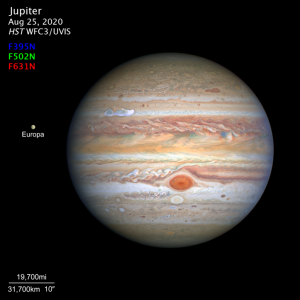 Planet Jupiter with red spot showing and text annotations.