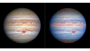Two views of Jupiter, one bluer than the other.