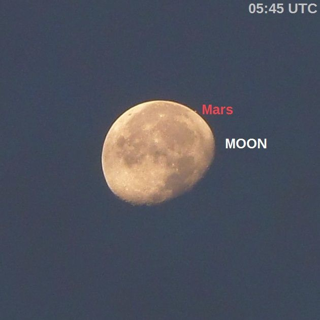 Mars about to be occulted by the moon - small dot just at edge of gibbous moon, with labels.