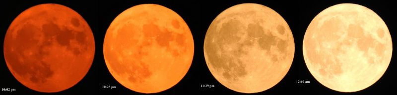 Red suns and moons: Here we see 4 full moons, starting with a very red one (closest to the horizon) and shifting to paler and paler yellow as the moon rises higher.