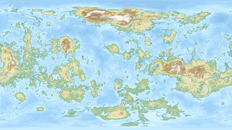 Map with oceans and many small continents and islands.