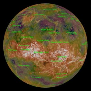 Annotated map showing highs and lows on Venus.