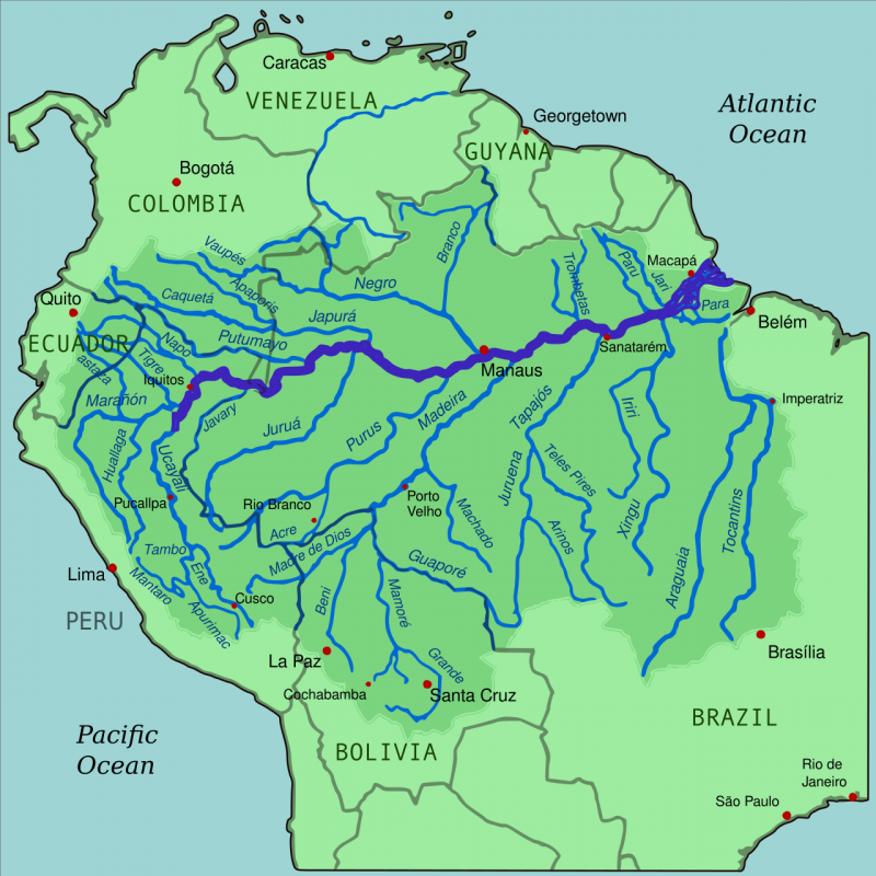 Map of northern South America with rivers in blue on solid green background, Amazon watershed in darker green.