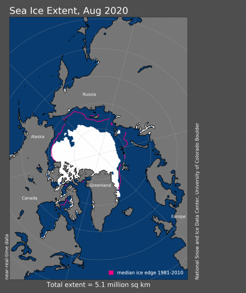 Map of Arctice with ice in white and line outside it showing that the area has shrunk.