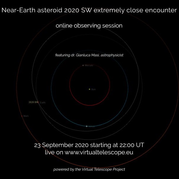 Poster advertising live event for viewing asteroid 2020 SW on September 23.