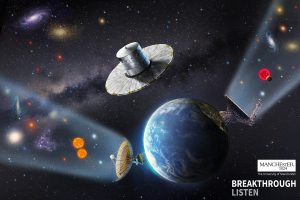 Artwork showing Earth from space, the Gaia spacecraft, and a radio telescope listening for signs of extraterrestrial intelligence.