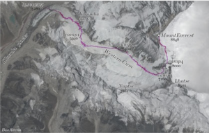 Satellite map showing route of ascent of Mount Everest, from the Nepalese side.