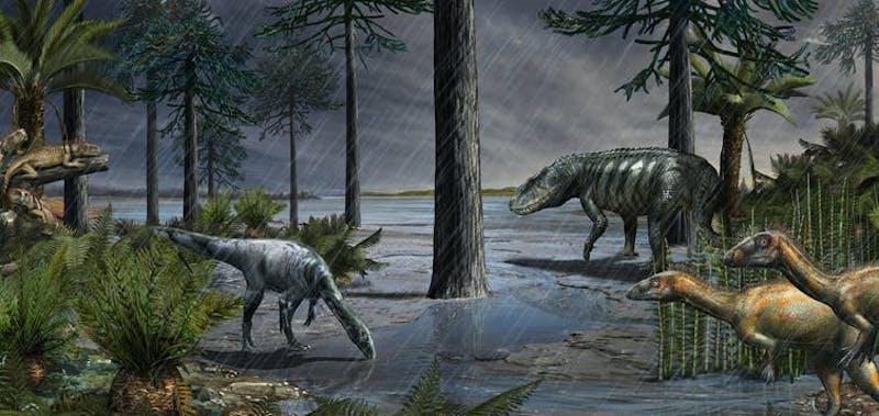 Prehistoric scene with heavy rain falling on dinosaur-like animals, ferns, conifer trees.