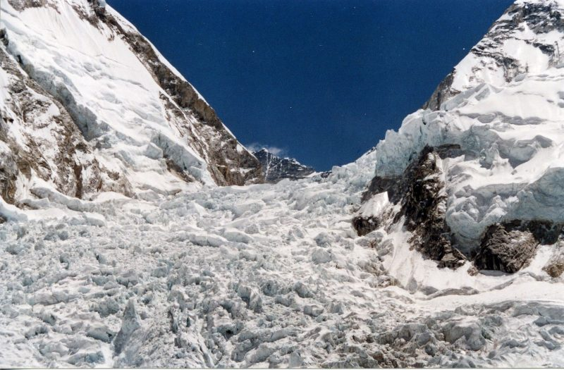 A turbulent, icy ascent up a steep mountain slope.