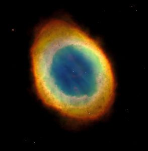 A colorful, ring-shaped cloud in space.
