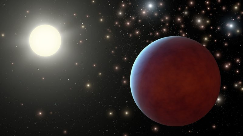Planet near bright star with other stars in background.