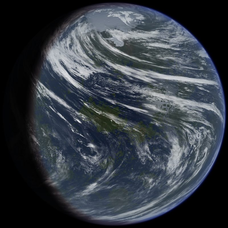 Earth-like planet with white clouds, blue oceans, and dark green continents on black background.