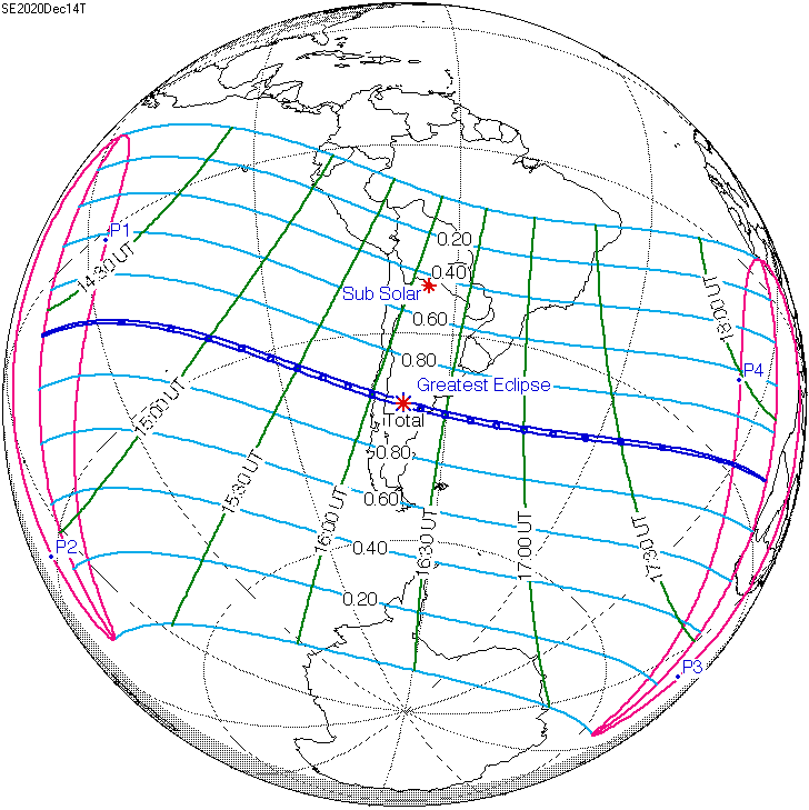 Map of globe with latitude and longitude lines, and blue strip showing eclipse coverage.