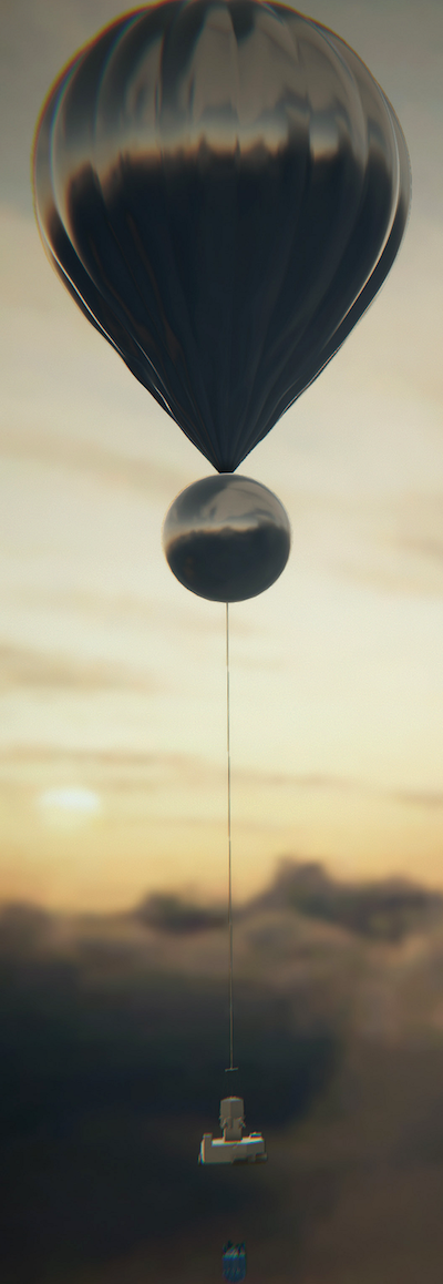 Large teardrop shaped balloon above a smaller round balloon with a small data gathering device dangling from a cable, among clouds.