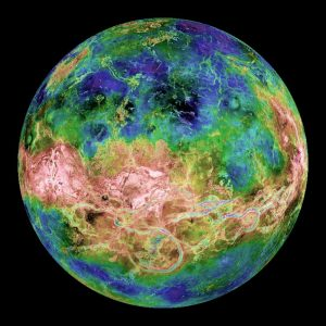 Map showing highs and lows on Venus.