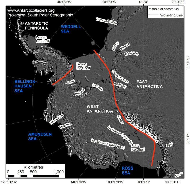 Map showing West Antarctica with many locations labeled including ice sheets and mountains.