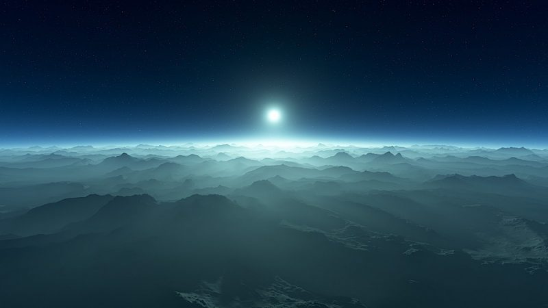 Mountains on planet orbiting white dwarf star.