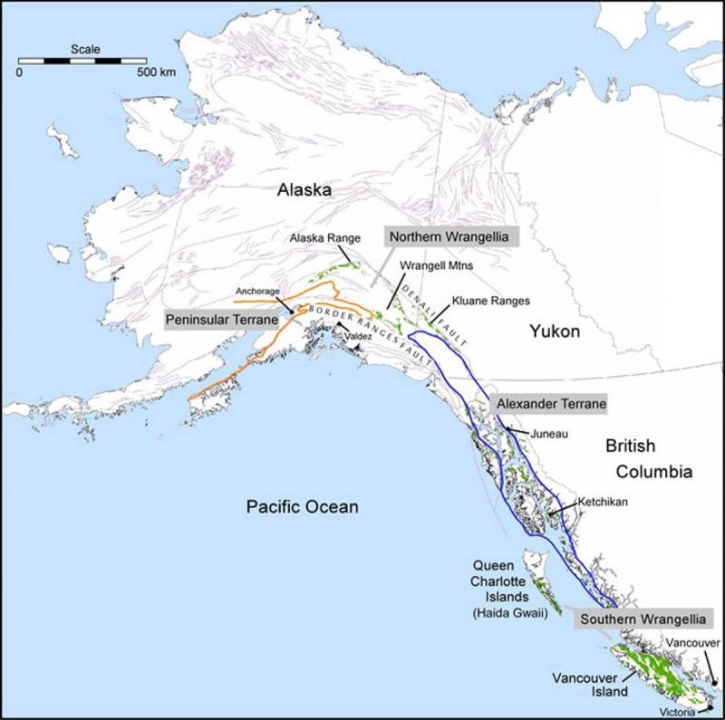 Map of Alaska and western Canada with elongated, labeled areas outlined near coast.