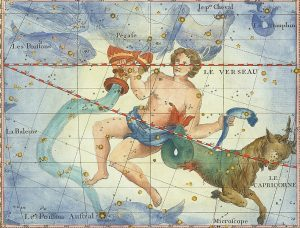 An illustration of Aquarius, this time a younger man, with goat from Capricornus by his side.