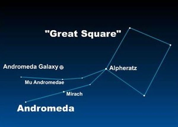Chart of Great Square with constellation Andromeda, labeled stars, and galaxy marked.