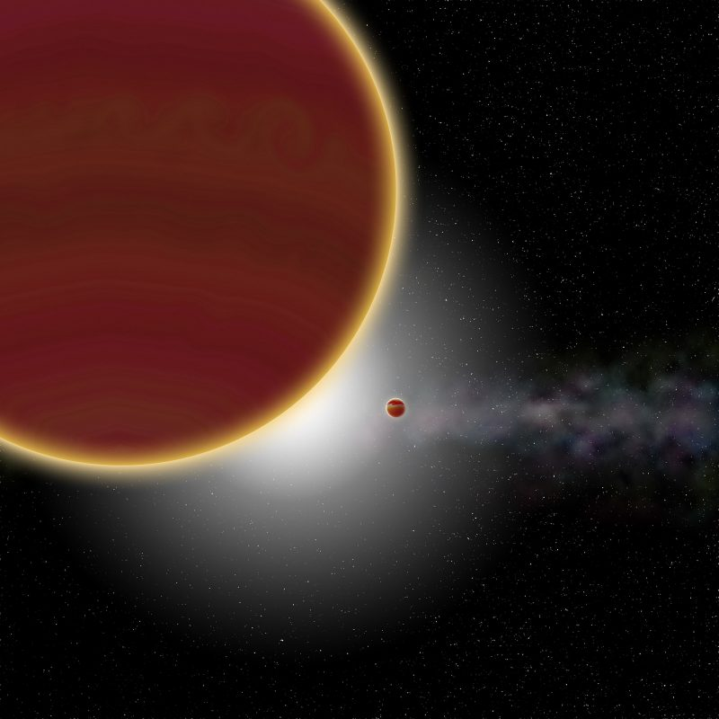 Large planet in foreground and second planet and star behind it, with dust disk and other stars in background.