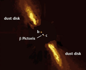 Two long bright streaks with two small dots between them, with text annotations on black background.