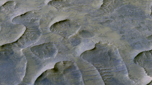 Image from HiRISE showing solidified sand dunes on Martian surface