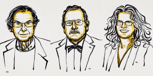 Drawings of three scientists