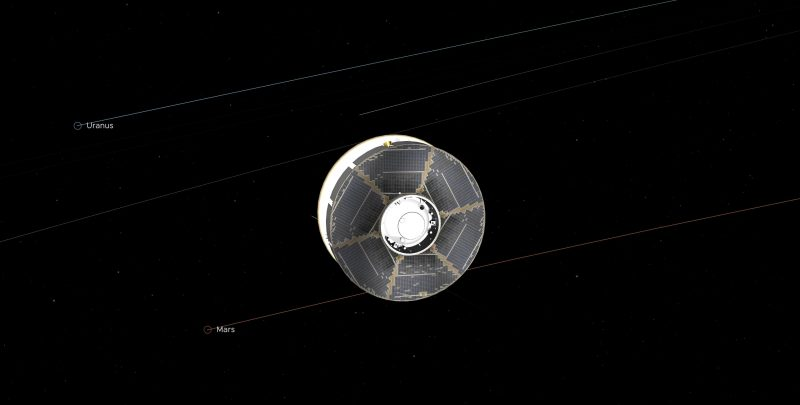 Round spacecraft with orbit of Mars labeled and stars in background.