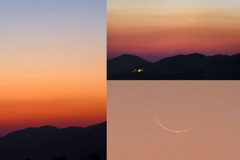 Several views of thin crescent moon.