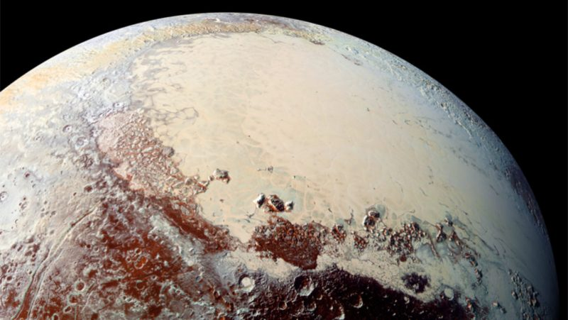 Partial orbital view of a globe with both smooth white and rough red terrain.